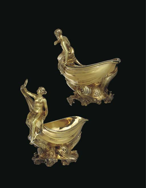 A PAIR OF GEORGE IV SILVER-GIL