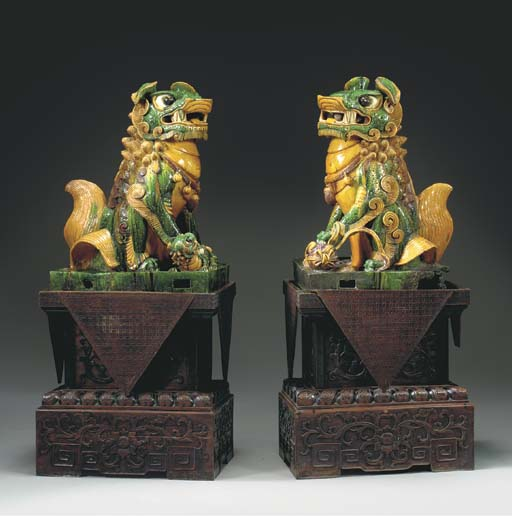 A PAIR OF LARGE CHINESE GREEN