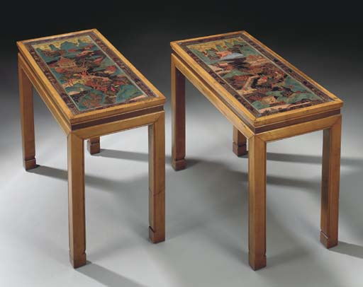 A PAIR OF CHINESE HARDWOOD TAB