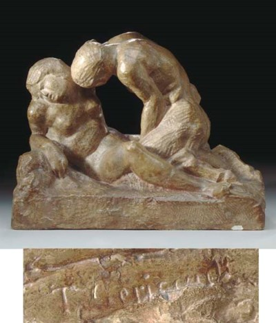 A PLASTER MODEL OF A NYMPH AND