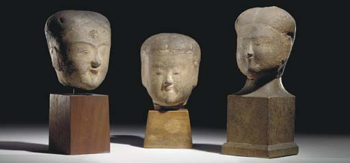 THREE EARLY CHINESE PAINTED MO