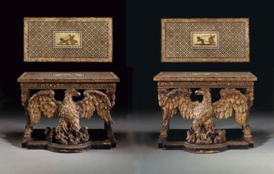 A PAIR OF ENGLISH GILTWOOD AND
