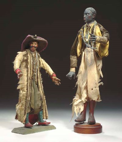 TWO ITALIAN POLYCHROME-PAINTED