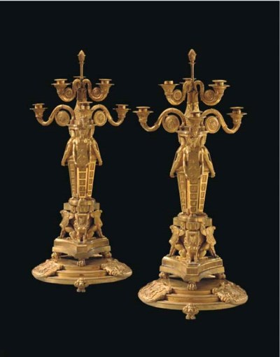 A PAIR OF REGENCY ORMOLU SIX-L