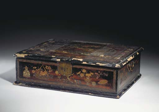 A CHINESE LACQUER BOX MADE FOR