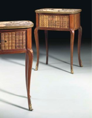 A PAIR OF FRENCH TULIPWOOD AND