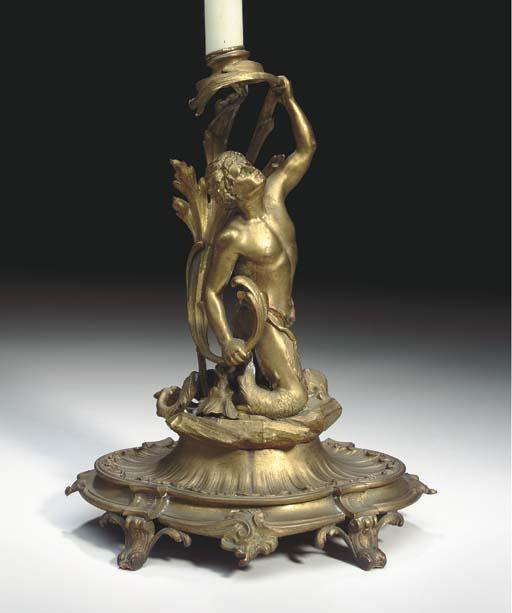 A FRENCH ORMOLU LAMP