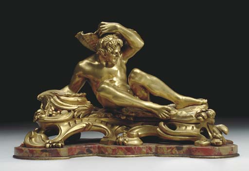 A FRENCH ORMOLU AND BRECHE D'A