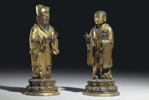 TWO SMALL CHINESE GILT-BRONZE