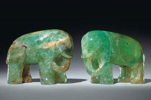 A PAIR OF CHINESE GREEN QUARTZ