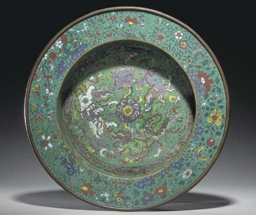 A CHINESE CLOISONNE ENAMEL BAS