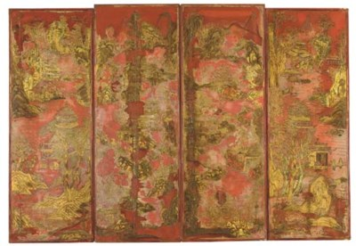 A CHINESE GILT-DECORATED RED L
