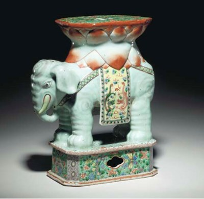 A CHINESE FAMILLE VERTE ELEPHA