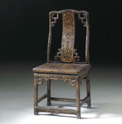 A CHINESE HARDWOOD SIDE CHAIR