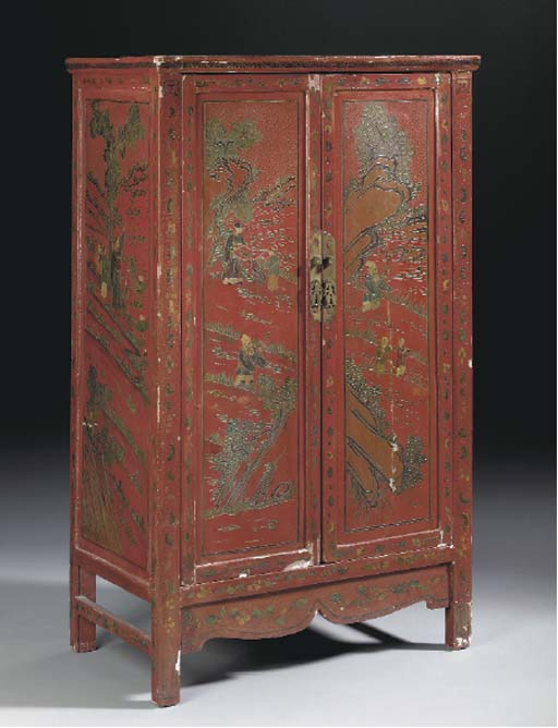 A CHINESE PAINTED RED LACQUERE