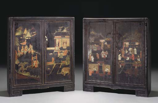 A PAIR OF CHINESE PAINTED BLAC