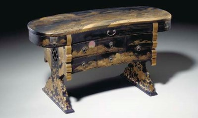 A JAPANESE LACQUER ARM REST