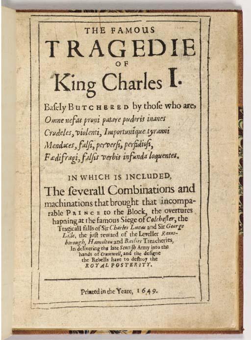 [CHARLES I (1600-1649)]. The F