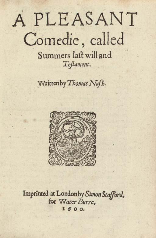 NASH, Thomas (1567-1601). A Pl