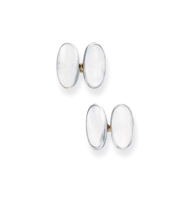 A PAIR OF MOONSTONE CUFF LINKS