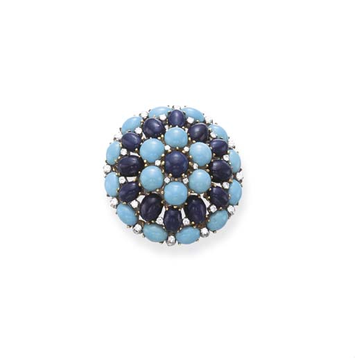 A TURQUOISE, LAPIS LAZULI AND