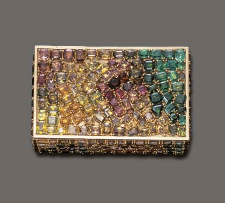 A MULTI-GEM AND GOLD VANITY CA