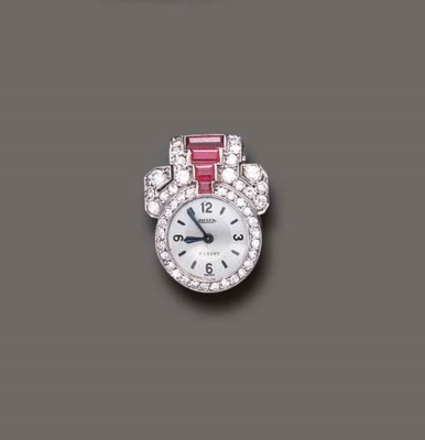 AN ART DECO RUBY AND DIAMOND L
