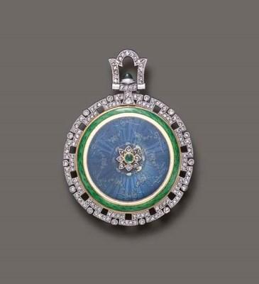 A BELLE EPOQUE ENAMEL, DIAMOND