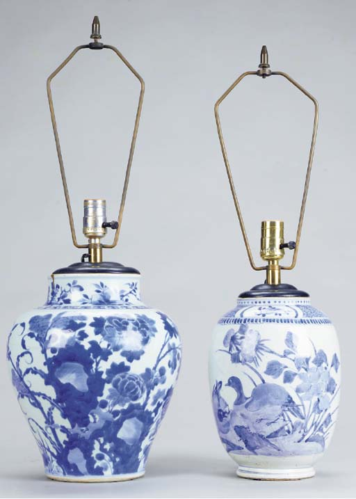 TWO CHINESE PORCELAIN BLUE AND