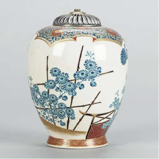 A SATSUMA EARTHENWARE VASE WIT