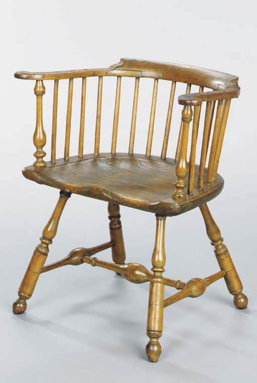 A WINDSOR LOW-BACK ARMCHAIR