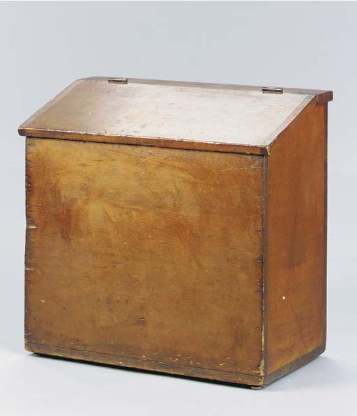 A SLANT-LID WOOD BOX WITH TWO