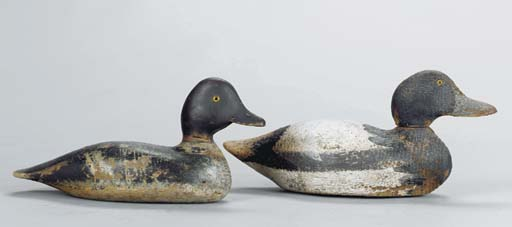 A GROUP OF PAINTED WOOD BIRD C