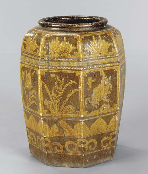 AN ASIAN STONEWARE GARDEN POT,