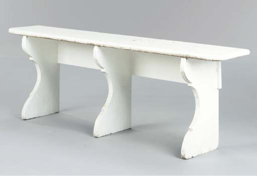 TWO WHITE PAINTED PORCH BENCHE