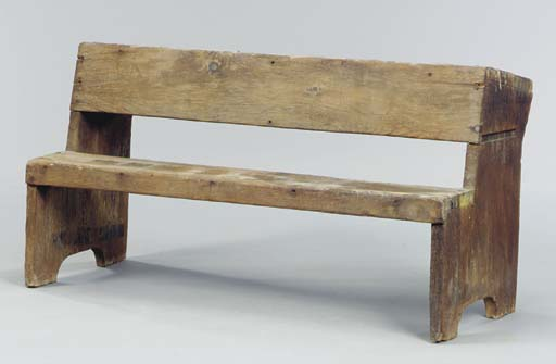 A PINE SCHOOL BENCH ATTACHED T