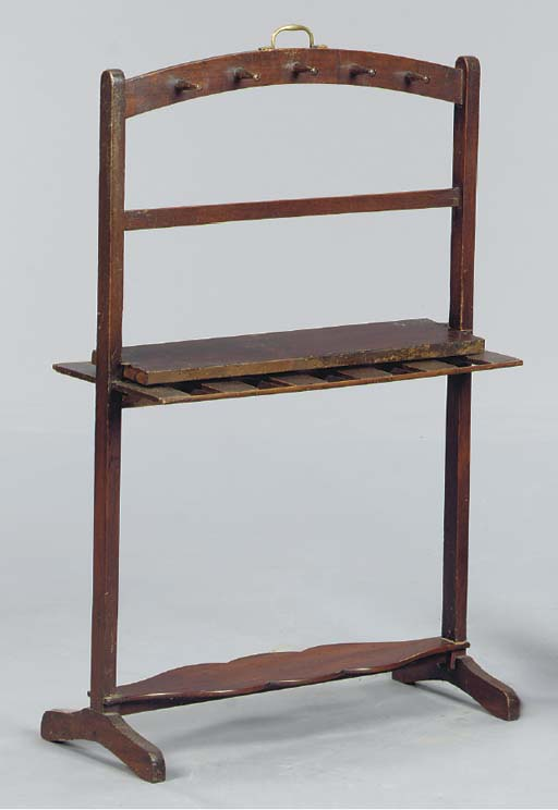 A MAHOGANY BOOT STAND; TWO TOW