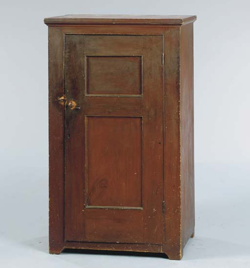 A RED-PAINTED PINE CUPBOARD,