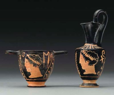 TWO PAESTAN VESSELS WITH SUPER
