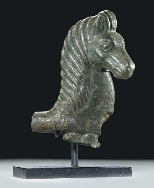 A GREEK BRONZE HORSE PROTOME