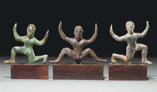 THREE ETRUSCAN BRONZE DANCING