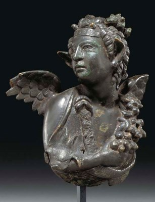 A ROMAN BRONZE BUST OF A WINGE