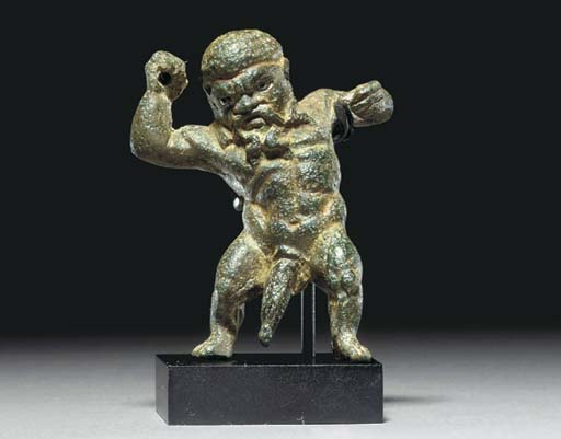 A ROMAN BRONZE FIGHTING DWARF