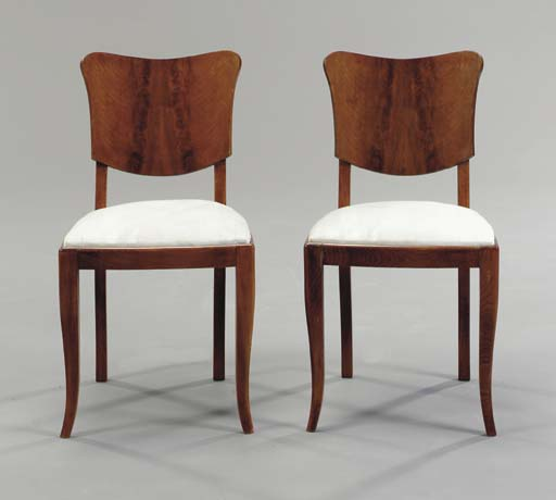 A SET OF SIX BIEDERMEIER STYLE STAINED FRUITWOOD DINING CHAIRS  (6)