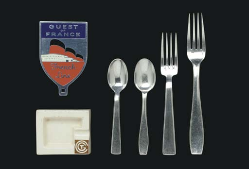 a group of flatware, ashtray a
