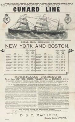 A Cunard Line Sailing Schedule