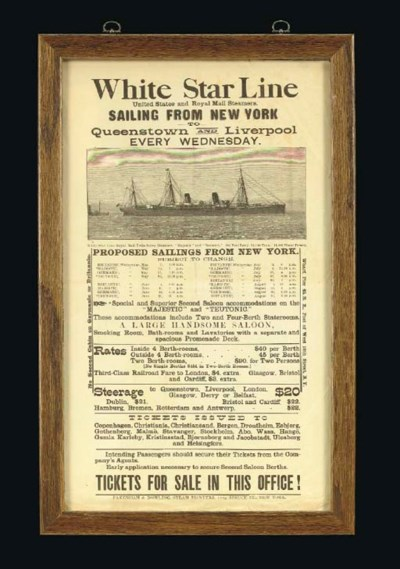 A White Star Line sailing sche