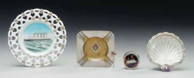 A ribbon plate, a shell dish,