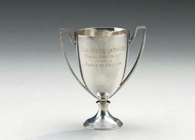 A silver plate trophy given on