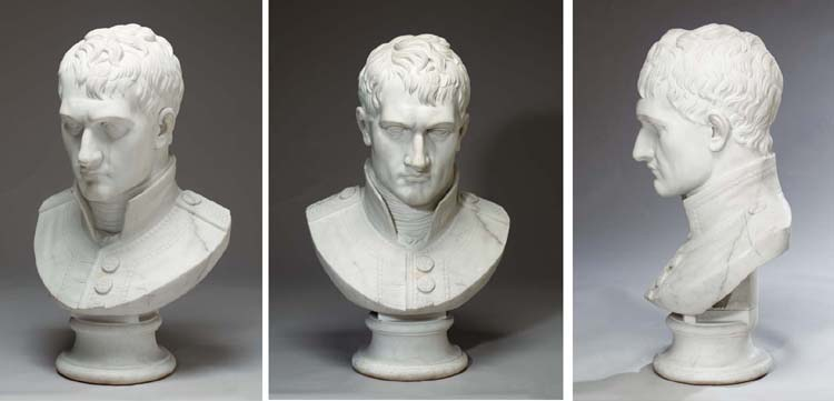 A MONUMENTAL MARBLE BUST OF NA
